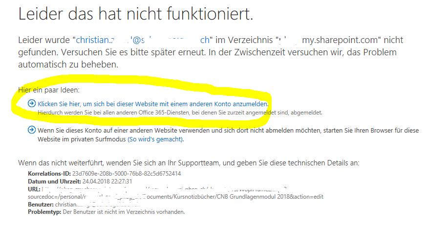 Anmeldung mit OneNote-Link nicht möglich