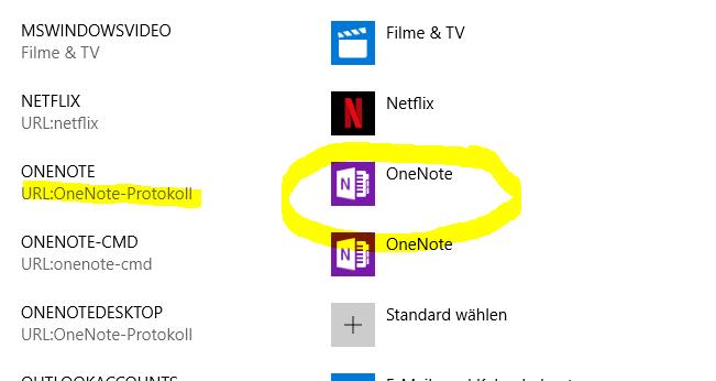 OneNote Protokoll wählen