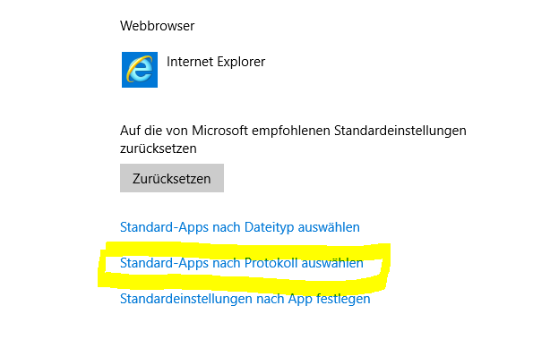 Standard Apps nach Protokoll auswählen
