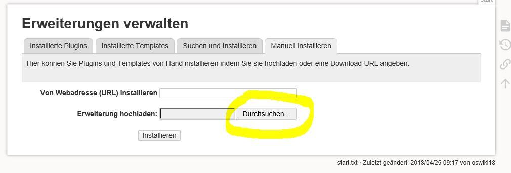 DokuWiki updaten Datei suchen