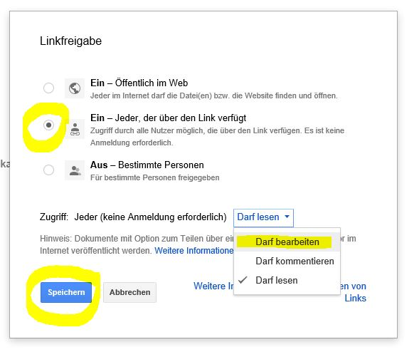 Google Docs Linkfreigabe
