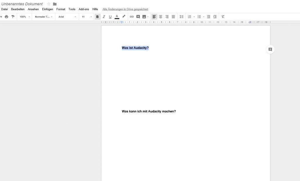 Google Docs vorbereiten