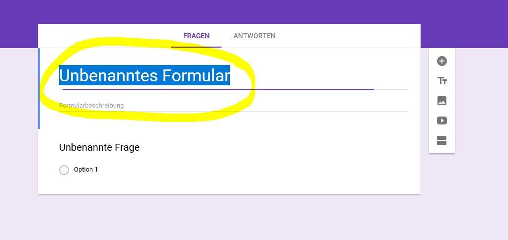 Google Forms Titel vergeben