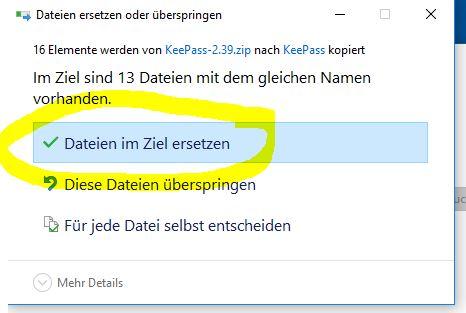 KeePass Dateien im Ziel ersetzen