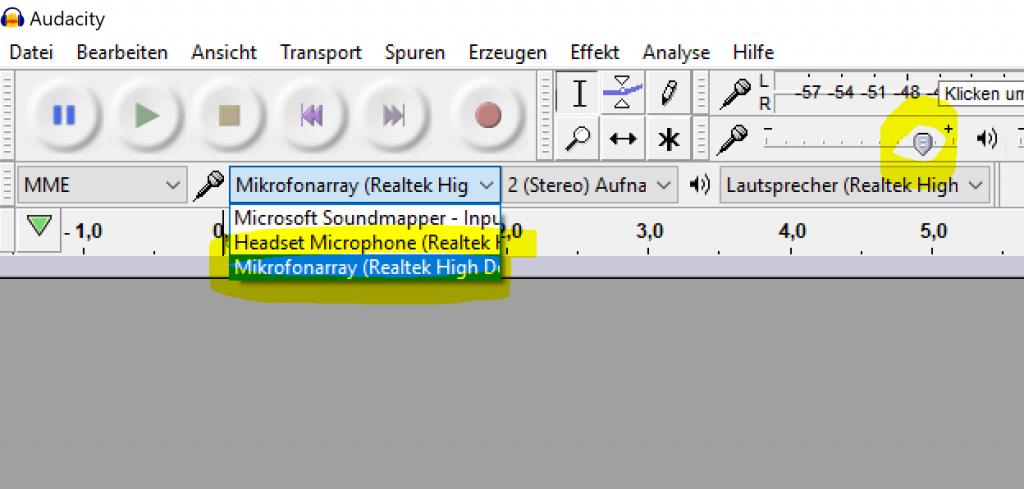 Mikrofon funktioniert nicht in Audacity