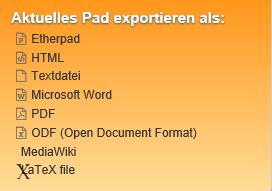 Piratenpad exportieren