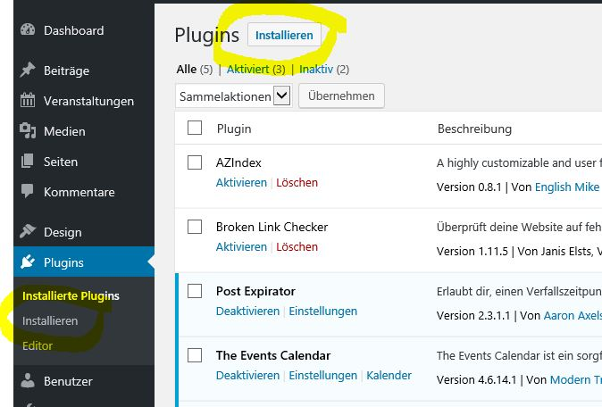 Plugins installieren in WordPress