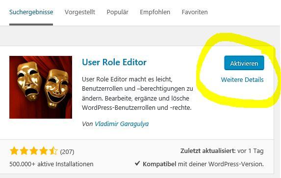 User Role Editor aktivieren