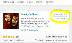 User Role Editor installieren