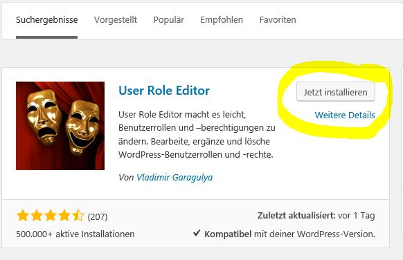User Role Editor installieren
