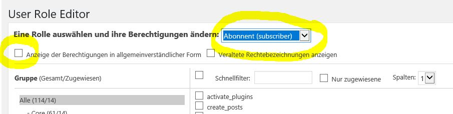 User Role Editor konfigurieren
