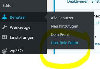 User Role Editor neuer Menüpunkt