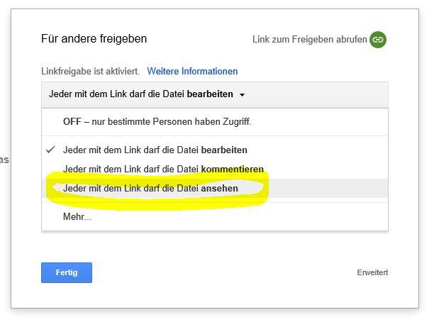 Zugriff Google Docs ändern