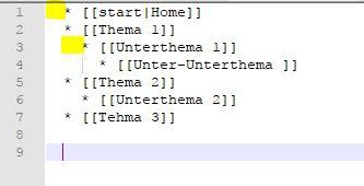 menustruktur in dokuwiki erstellen