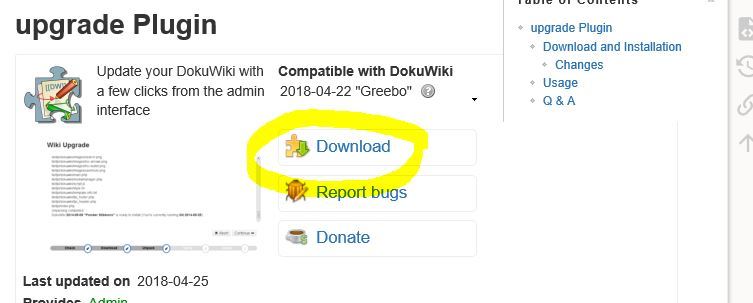 upgrade plugin dokuwiki