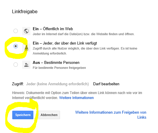 Google Forms Zutrittsberechtigung mit Link