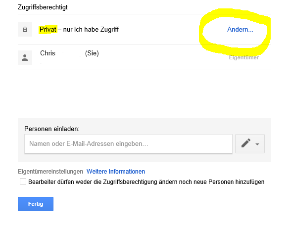 Google Forms Zutrittsberechtigung