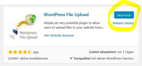 Wordpress File Upload Plugin aktivieren