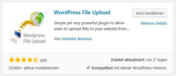 Wordpress File Upload Plugin installieren