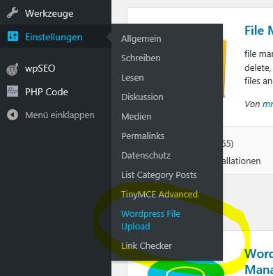 neue Einstellungen WordPress File Upload