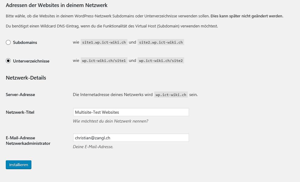 Adressen der Websites in deinem Netzwerk