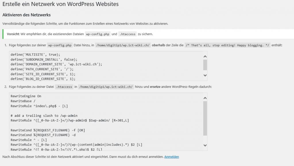 Aktivieren des Netzwerkes in Multisite Umgebung Wordpres