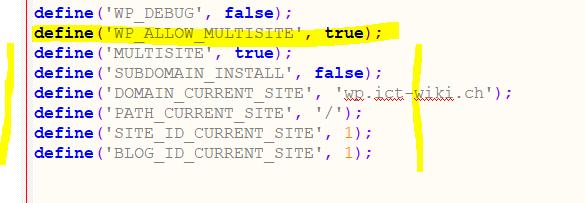 Code in wp-config-Datei einfuegen