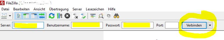 FileZilla Verbindung erstellen