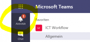 Benachrichtigung in Microsoft TEAMS unter Aktivitäten