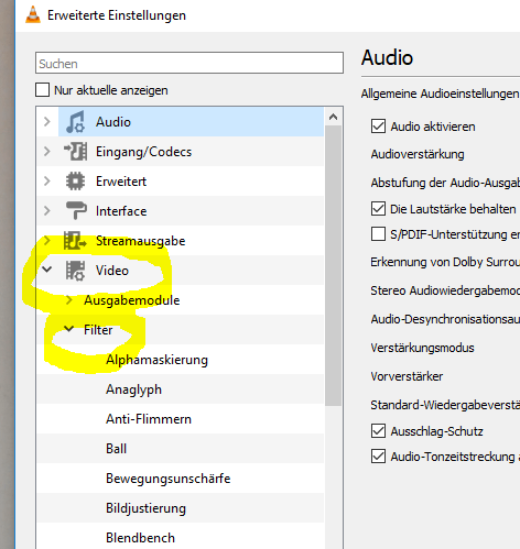Einstellungen Video und Filter aufklappen 3