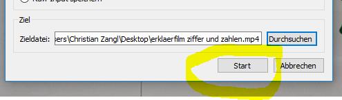 Konvertierung starten im VLC MediaPlayer
