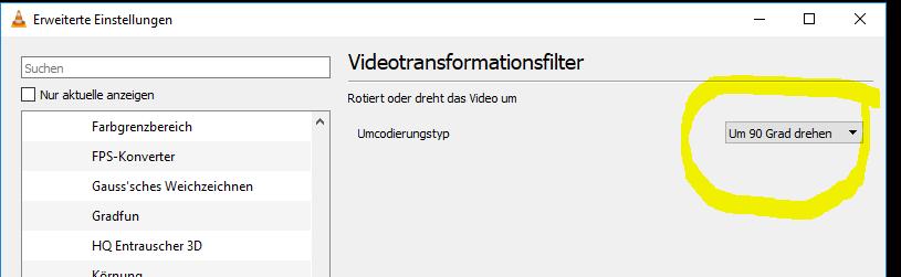 VLC Video drehen Grad auswaehlen 5