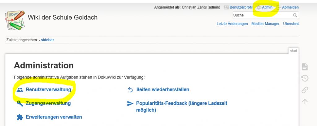 Benutzer Massenimport in DokuWiki Benutzerverwaltung