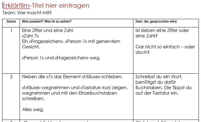 Drehbuch Word Beispiel