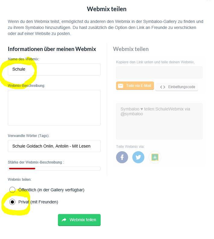 Webmix teilen privat