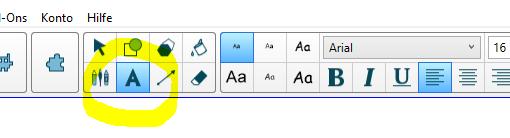 Text-Werkzeug-anklicken
