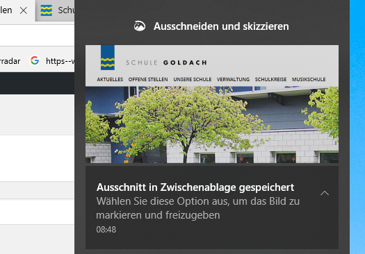 Printscreen in Windows 10 erstellen Zwischenablage