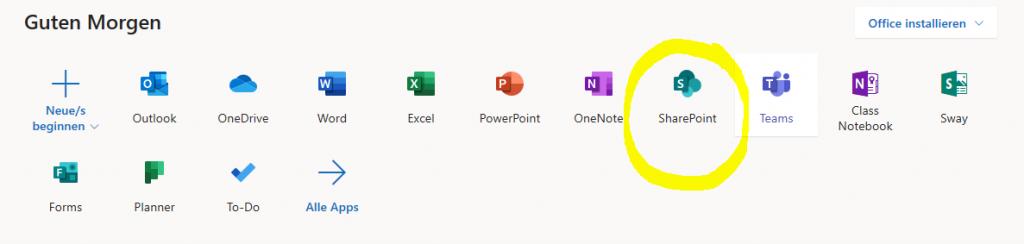 office Startseite mit SharePoint