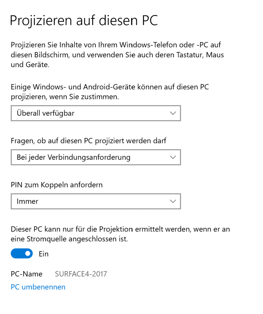 Projektion Smartphone auf Surface 2