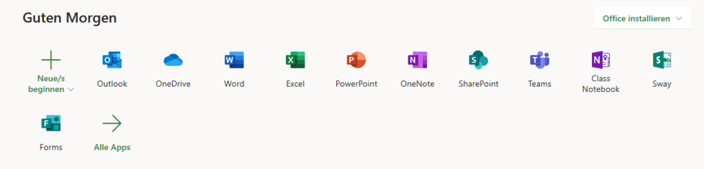 Startbildschirm Office365