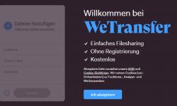 Wetransfer.com Startbildschirm