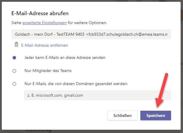 E-Mail Adresse abrufen Einstellungen