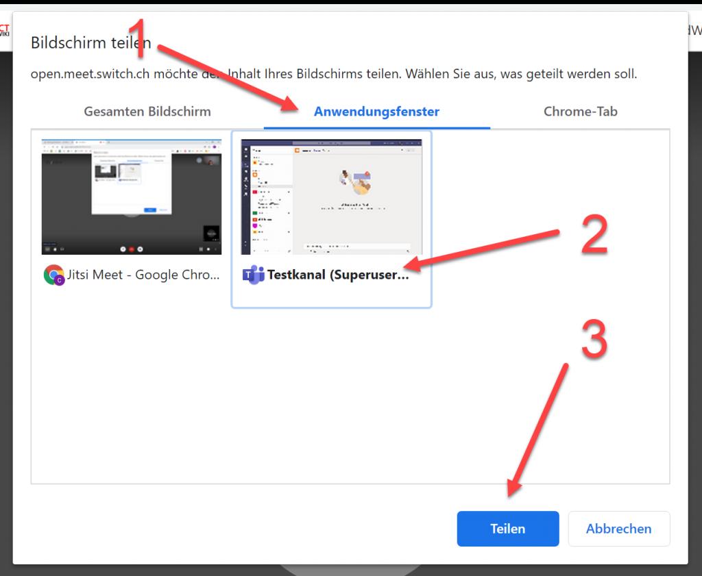 open.meet.switch Bildschirm teilen 2