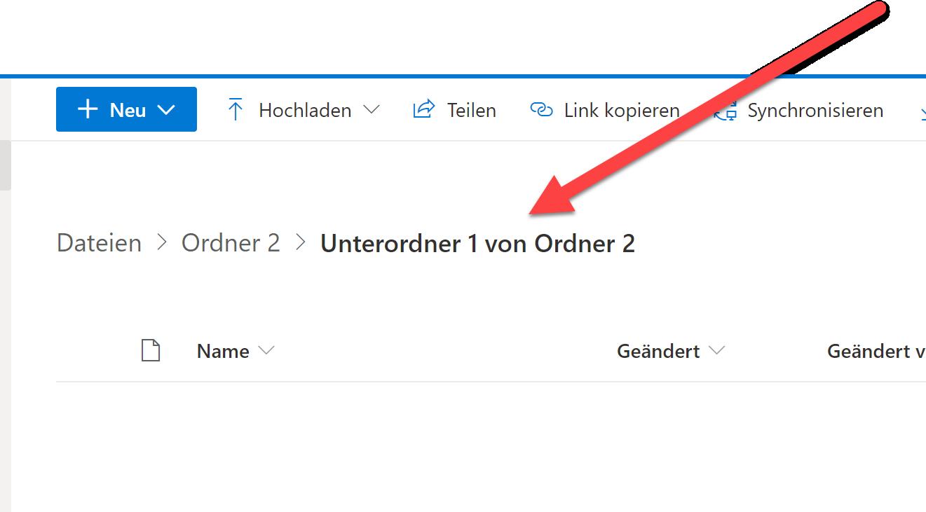 zum passenden OneDrive Ordner gehen