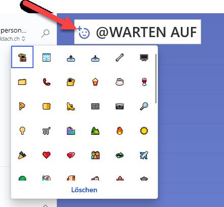 Emoji in Aufgaben