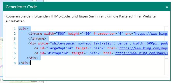 Generierten Code kopieren