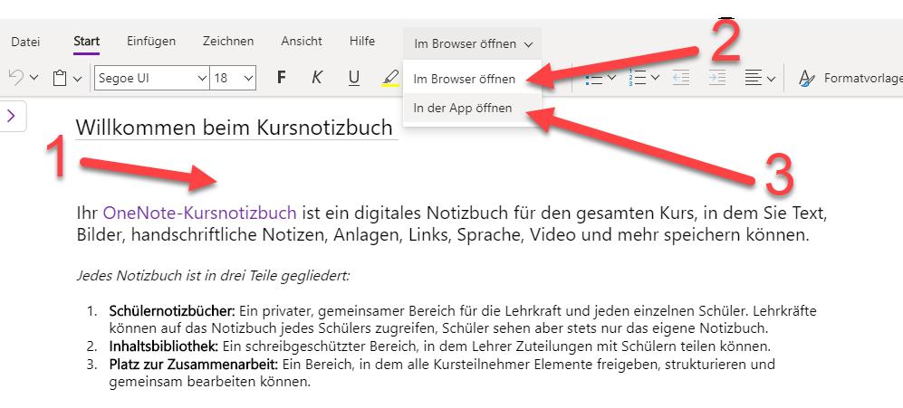 Kursnotizbuch im Browser oder der App starten