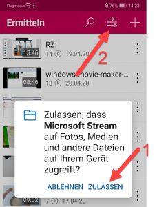 Microsoft STREAM Zugriff auf Datenzulassen 2