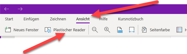Plastischer Reader liest Text vor in OneNote