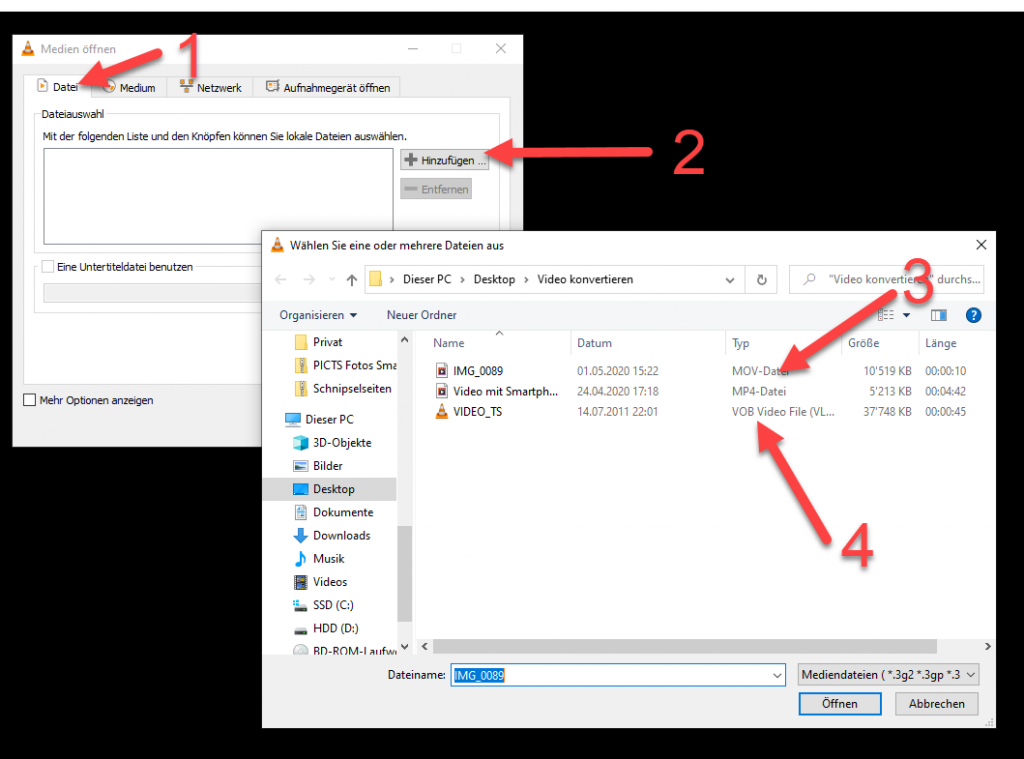 Video konvertieren in VLC Player